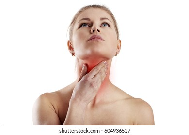 Throat disease. Young female suffering from gland inflammation.