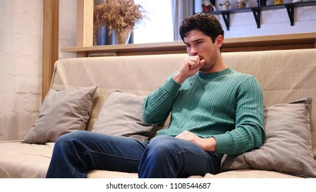 Throat Soar, Sick Man Coughing, Sitting at Home