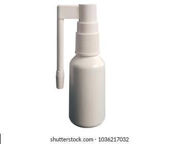 throat spray bottle. closed stem, isolated on white background