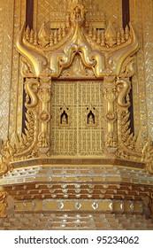 Throne of King Bayinnaung in  Kambawzathardi Golden Palace (Palace of Bayinnaung) in Bago, Myanmar
