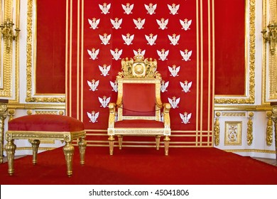 Throne of Polish king-Royal castle in Warsaw on World Heritage List.