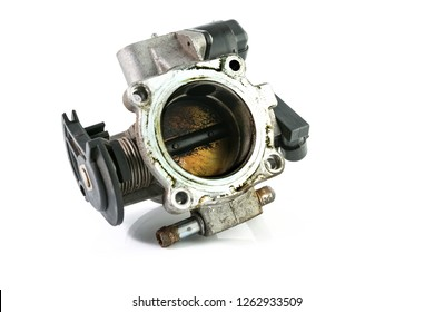 Throttle valve of the old engine car isolated on a white background.