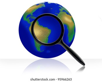 Through a magnifying glass globes.