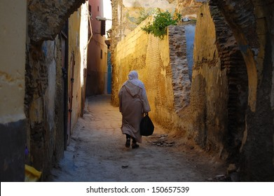 Through the streets of the medina of Meknes . Morocco