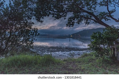 Through the Trees - Dawn Waterscape -  Woy Woy Waterfront on the Central Coast, NSW, Australia.