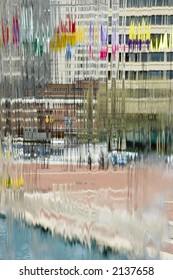 Through the waterfall at Inner Harbor, Baltimore, Maryland