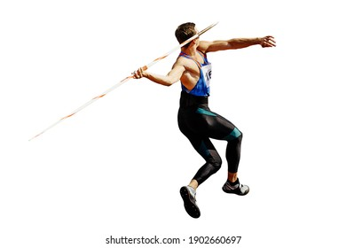 thrower athlete in javelin throw isolated on white background