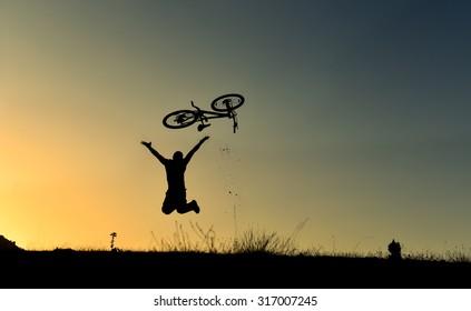 throwing up the bike & crazy biker