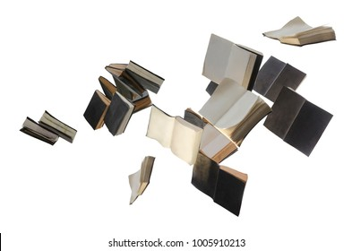 Throwing books, flying books isolated on white background with clipping path