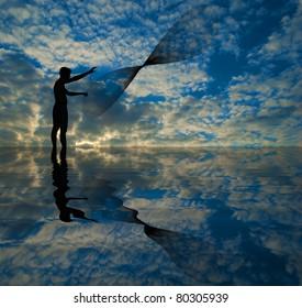 throwing fishing net during sunset