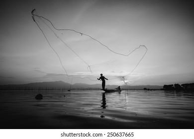 throwing fishing silhouette tone black&white