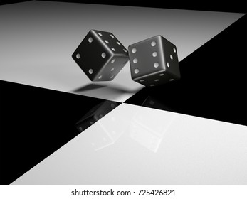 Thrown the dice on black and white surface