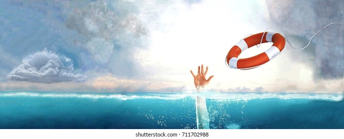 Thrown life buoy saving drowning person.