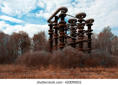 The thrown rusty electrical unit of Nikola Tesla for experiments in Russia