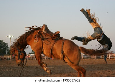 Thrown saddle bronc rider head over heels