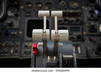Thrust Levers of a Business jet focus on the main levers.