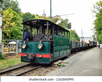 Thuin, Belgium - August 18,2018: Newly restored steam locomotive HL303 is presented to public at the Tram Festival held in Thuin on August 15th. The locomotive build in 1888 is the oldest in Belgium.