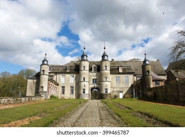 Thuin, Belgium-March 29: Old castle in Belgium in nice spring nature background on March 29, 2016. Old castle in Belgium. Beautiful castles to experience in French speaking Wallonia, Belgium