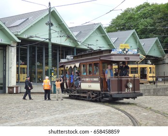 Thuin - June 11: Old heritage streetcar tramway in front of Tram Museum in Brussels.  Photo taken on June 11, 2017, Brussels, Belgium.
