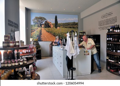 THUIR, FRANCE - SEPTEMBER 5, 2018: Exhibition and wine shop at the entrance to the cellars of the Byrrh company in Thuir