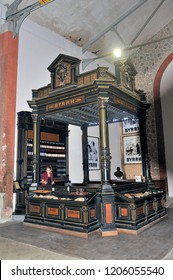 THUIR, FRANCE - SEPTEMBER 5, 2018: Old tasting booth of the Byrrh company used at the time to make known their aperitif around the world