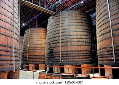 THUIR, FRANCE - SEPTEMBER 5, 2018: Inside the cellars of the Byrrh company in Thuir which makes its famous aperitif with wine and spices