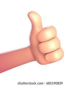 Thumb up cartoon hand. 3d render