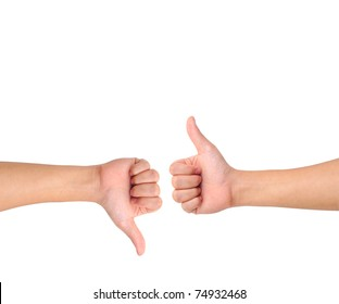 Thumb up and thumb down hand signs isolated on white with a copy space