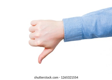 Thumb down male hand In blue shirt. On a white bakground. Isolated.