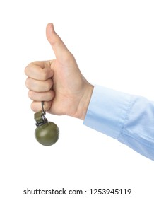 Thumb up hand with grenade isolated on white background