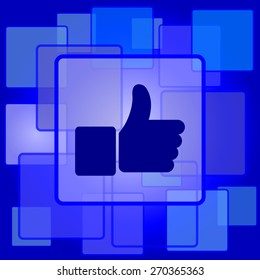 Thumb up icon. Internet button on abstract background.