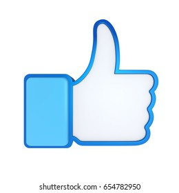 Thumb Up Icon Isolated. 3D rendering