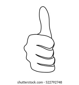 Thumb up icon in outline style isolated on white background. Hand gestures symbol stock bitmap illustration.