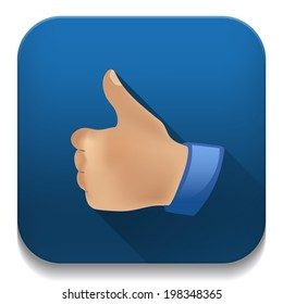 """thumb up """"like"""" icon With long shadow over app button"""