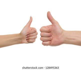 Thumb up men's and women's hands