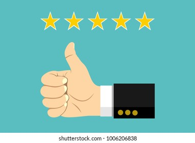 Thumb up pointing at positive five star feedback. Rating, evaluation, success, feedback, review, quality and management concept.