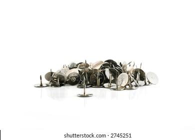 thumb tacks - drawing pins, isolated on white