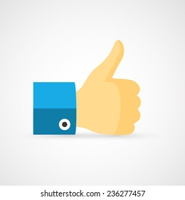 Thumb up. Flat Like icon.