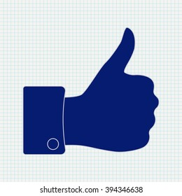 Thumb Up. Icon on Notebook sheet  background.   illustration. Raster version