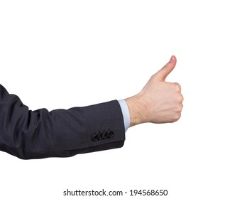 Thumb up, suit, hand. Isolated.
