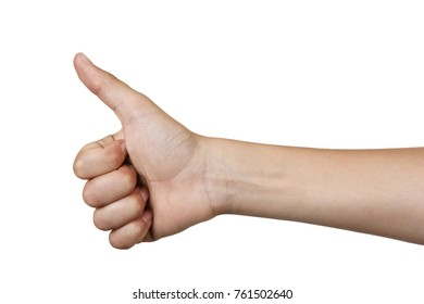 Thumbs up boy's hand isolated on white background