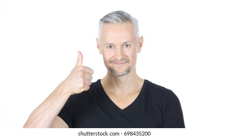 Thumbs Up by Confident Smiling Middle Aged Man, White Background