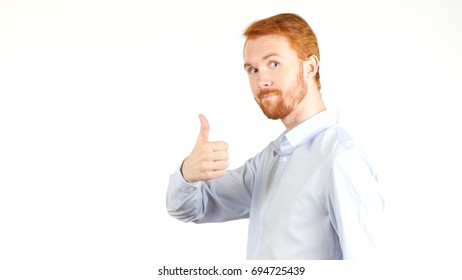Thumbs up by Young Man, Looking at camera, White Background