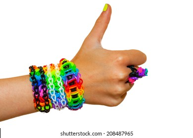 thumbs up for colorful rainbow loom rubber bands bracelet