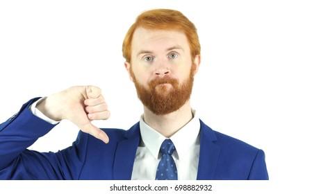 Thumbs Down by Red Hair Beard Businessman