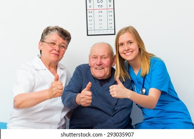 Thumbs up for elderly homecare from senior patient and doctors too.