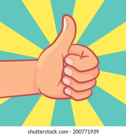 thumbs up hand with burst background