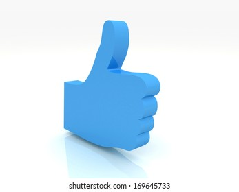 Thumbs up sign 3d render