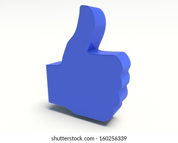 Thumbs up sign in blue. 3d render. Isolated on white background.