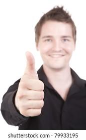 Thumbs up smiling at success businessman looking at camera